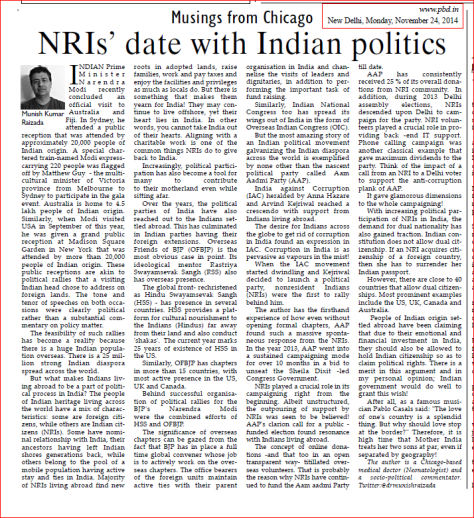 PBD Nov 24 2014 NRIs Indian Politics