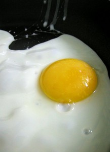 A cooked sunny side up egg