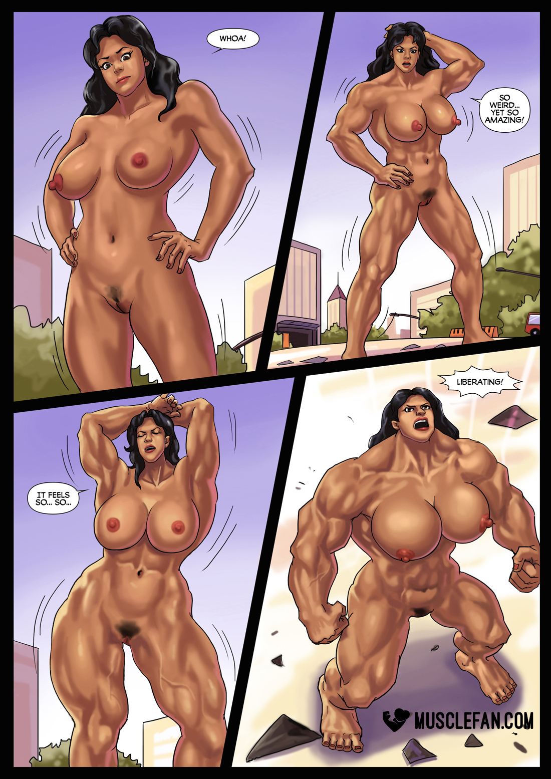 female pumped muscles