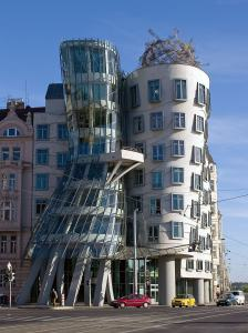 The Dancing House, Prague, designed by Frank Gehry. There's a great restaurant on the roof with views over Prague.