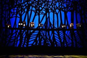 Minimalistické svítící domečky dotvářející atmosféru