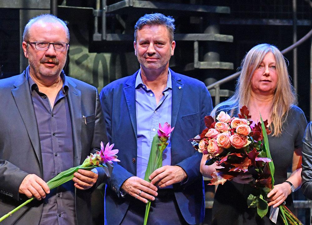 Stanislav Moša, Christoph Weyers a Andrea Kučerová na premiéře muzikálu