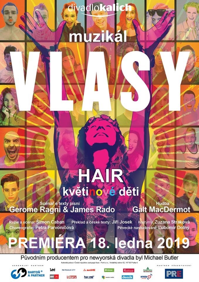 Plakát muzikálu VLASY (HAIR)