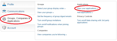 LinkedIn Applications Controls