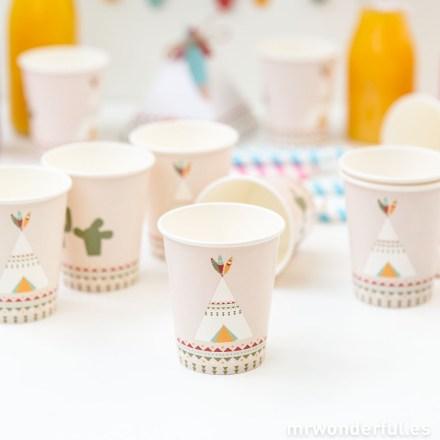 Mr.Wonderful set de vasos de papel con estampado fiesta india