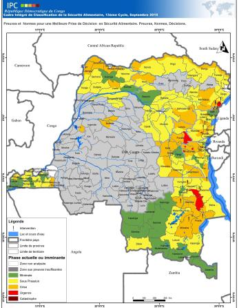 Map of DRC- the grey area has no data.