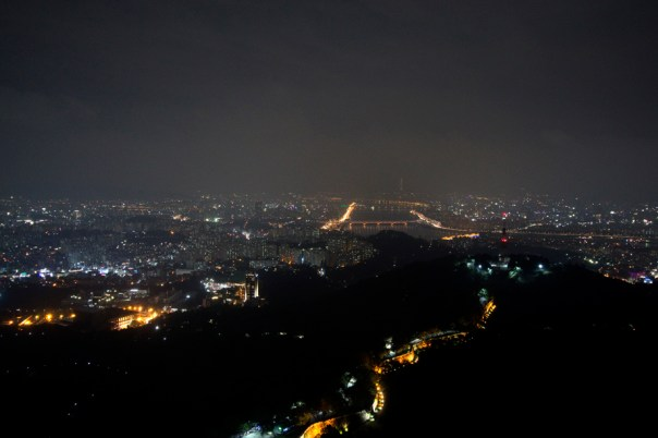 The view from Namsan tower, you can see the path to the tower from the right.