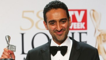 MELBOURNE, AUSTRALIA - MAY 08:  Waleed Aly poses with the Silver Logie Award for Best Presenter 'The Project'  during the 58th Annual Logie Awards at Crown Palladium on May 8, 2016 in Melbourne, Australia.  (Photo by Graham Denholm/WireImage)