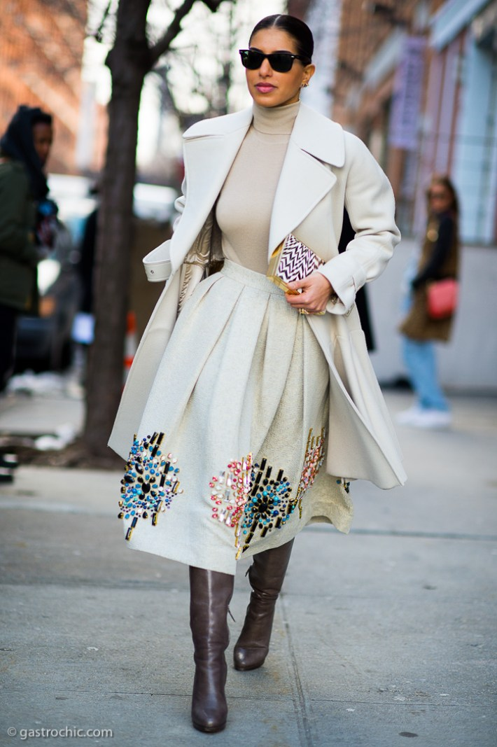 Cream Coat and Embellished Skirt, Outside Rodarte