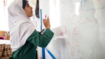 """15-year-old Syrian refugee Omaima at a drawing class she teaches at to raise awareness of the dangers of early marriage to her classmates at Za'atari refugee camp. ; Omaima, from Dara'a, fled Syria with her family after her close uncle was killed and felt it was no longer safe for them to stay in Syria.   When Omaima first arrived at Jordan's Za'atari camp in 2012, the 11-year-old refugee from Syria was not aware of the issue of early marriage. Then some of her classmates started vanishing. """"When I got to sixth grade [in 2013], I started hearing about girls as young as 12 or 13 getting married. They would come to the school to say goodbye. I remember thinking they were making a big mistake, even before I knew the facts,"""" Omaima speaks of young girls at her school at Za'atari refugee camp. Omaima runs painting and acting classes to educate young girls and parents on underage marriage.  Under Jordanian law, the minimum age of marriage is set at 18 years. Religious (Shari'a) judges may authorize marriages involving children as young as 15, provided the child's best interests are taken into account. Despite the law, and the best efforts of the authorities, there are also cases of local sheikhs conducting unofficial marriages involving girls 14 or younger, which are not considered legal under the law. In pre-war Syria as a whole, an average of 13 per cent of all marriages involved someone below the age of 18. Among Syrian refugees living in Jordan, this rate had risen to 32 per cent by the first quarter of 2014."""