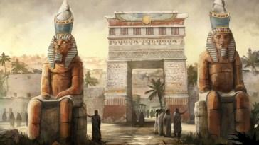 fantasy-art-people-digital-art-egyptian-statue-town-hieroglyphics-stone-house-1920x1200