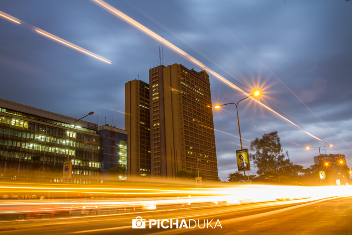 Evening traffic leaves streaks of light along Nairobi's Kenyatta Avenue on 14th May 2013.