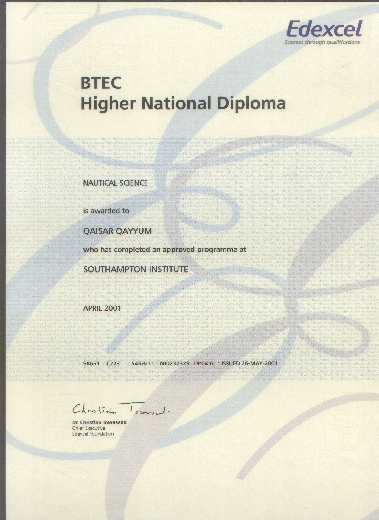 B T E C  Higher National Diploma   Nautical Science