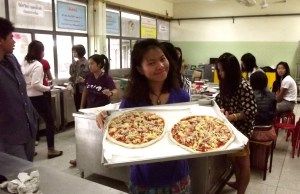 pizza with thai students