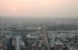 view over bangkok from baiyoke II tower - with Rama IX bridge in the back