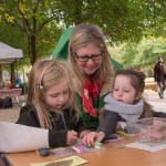 Nature preschool educator Ann Halley with kids.
