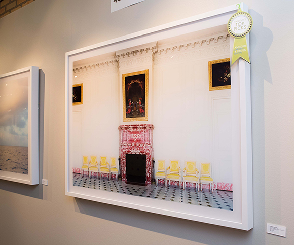 """Booth #400, Anne Loucks Gallery: A mirror-image photograph by Milwaukee-based artist Laurie Victor Kay, entitled """"Les Chaises Jeunes IV."""""""