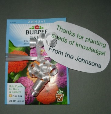 """PHOTO: Seed packed with a label saying, """"Thanks for planting the seeds of knowledge."""""""