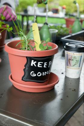 PHOTO: Chalkboard plant pot.