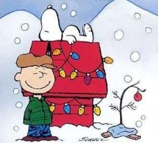 ILLUSTRATION: Charlie Brown and Snoopy with a sad-looking, needle-free tree sporting a single ornament.