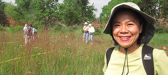 PHOTO: Fay Liu on a foray for Plants of Concern.