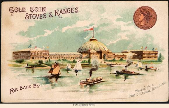 Front of advertising card showing the Horticultural Building at the 1893 Chicago World's Fair, with inset of company logo.