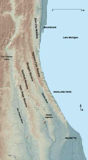 MAP: The moraines of the region, including Highland Park Moraine.