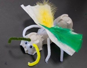 The finished egg carton insect.