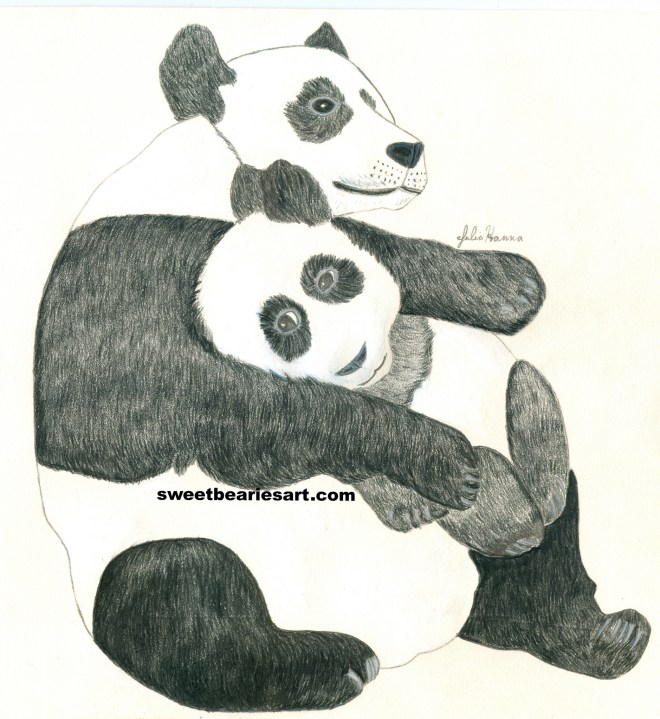 The drawing of the mommy and baby panda bear is finished.  Now I need to create a background.