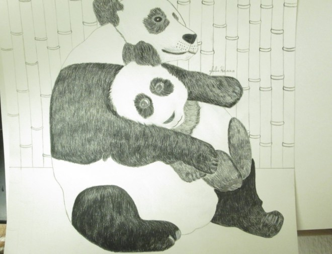 I drew the bamboo trees behind the two panda bears.