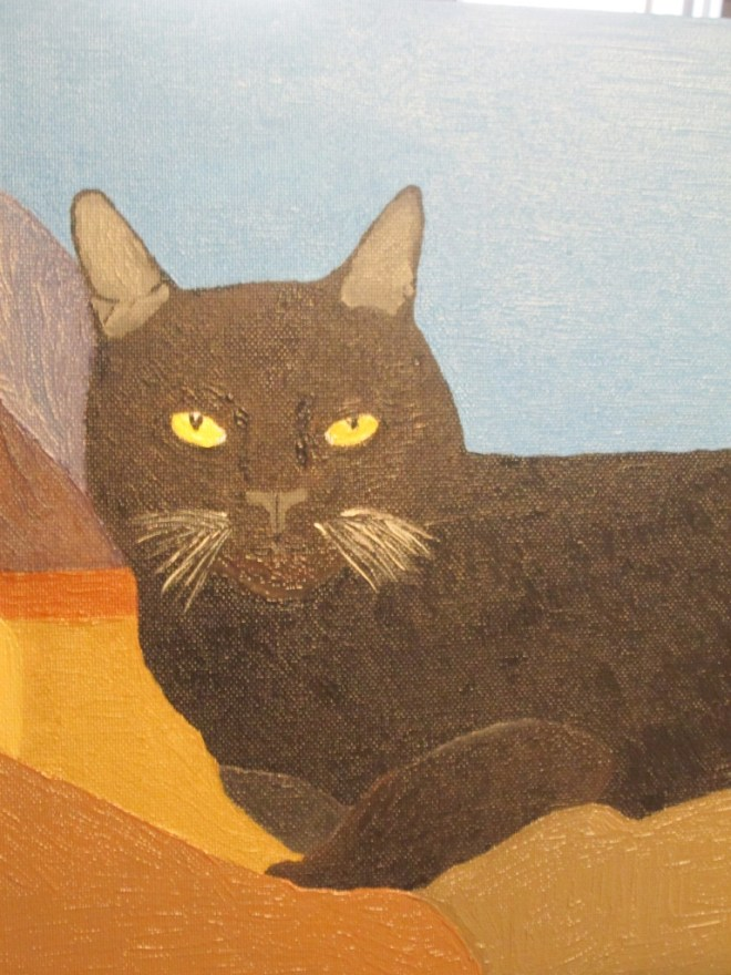 The completed painting of Irina the cat reflect my vision of the California dream.