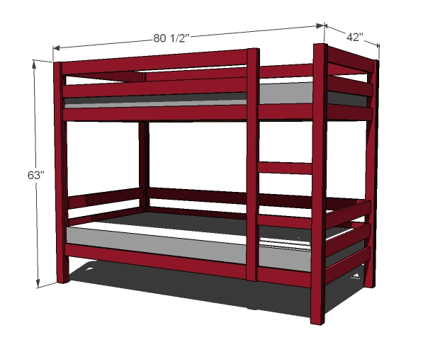 8 free bunk bed plans free bed frame plans how to for Basic twin bed frame