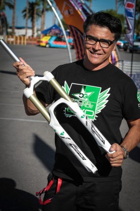 Bryson Martin showing us his DVO Diamond fork coming out soon. This should be a hot ticket for the mid travel enduro racer.