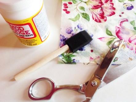Napkins, Glue, Foam Brush, Sicssors