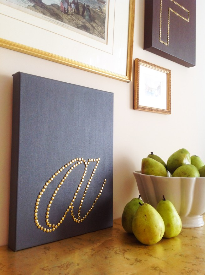 DIY Canvas Wall Art With Brass Monogram