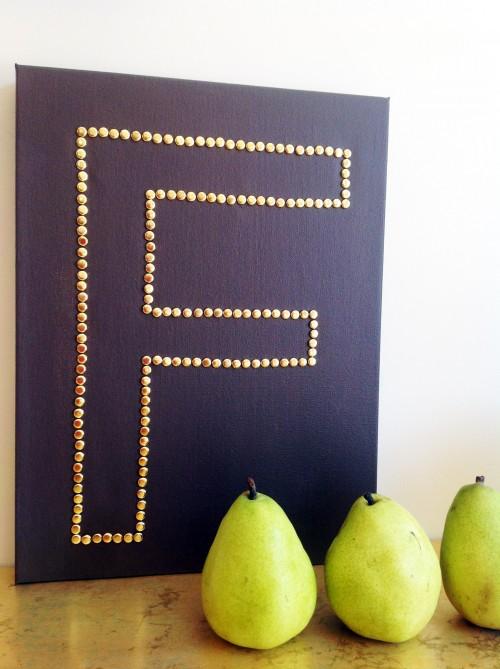 diy canvas wall art with brass monogram