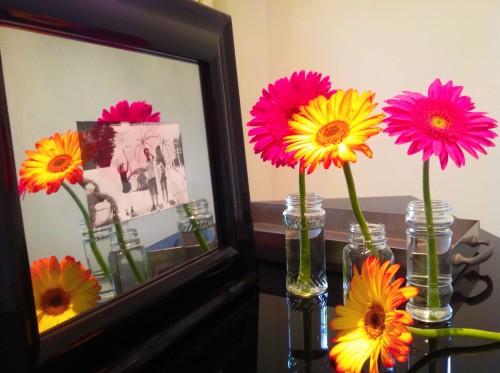 Mirrored Mat & Four Gerbera