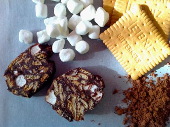 Chocolate Mosaic With Biscuits And Marshmallows
