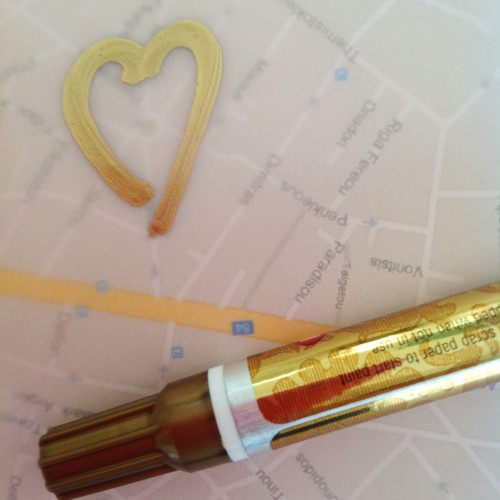 Heart With Gold Leaf Pen - mydearirene