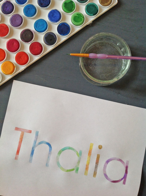 Watercolor Rainbow Name