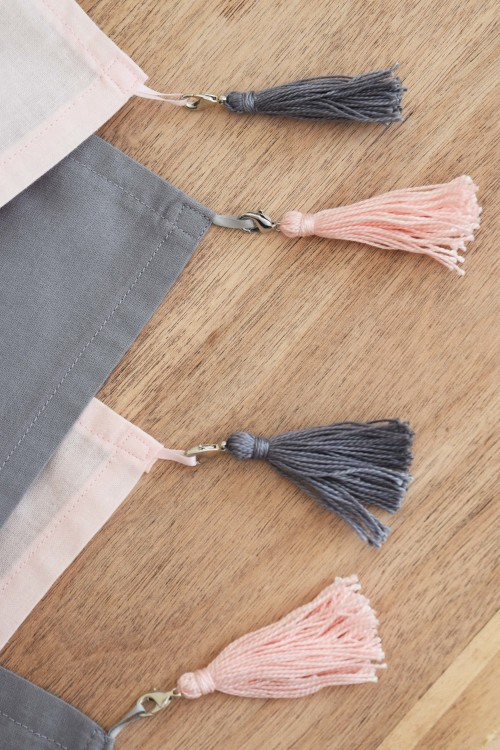 Napkins With Tassels Pink With Grey - mydearirene.com
