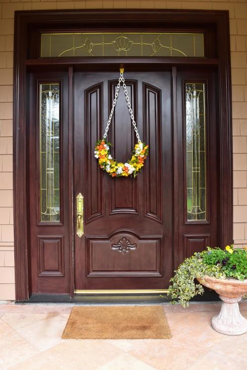 Half Wreath On Front Door - mydearirene.com