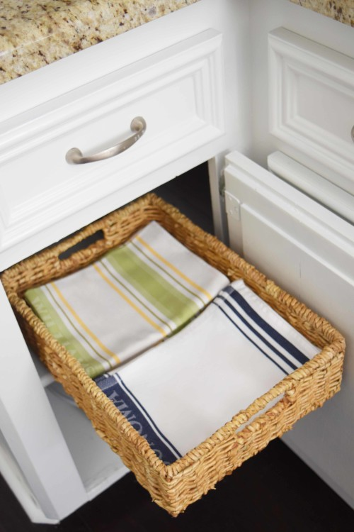 Pull Out Basket With Kitchen Towels - mydearirene.com
