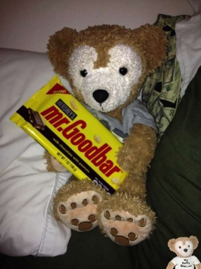 Duffy the Disney bear eats his huge Mr. Goodbar Candy