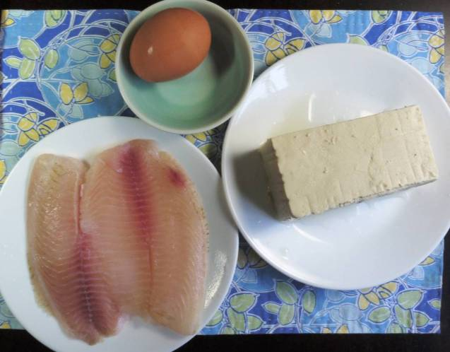 ingredients for Chinese fish soup with Tofu and Egg drop