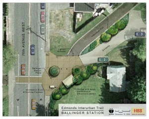 Artistic rendering of the planned Ballinger Station at 76th Avenue West and McAleer Way.
