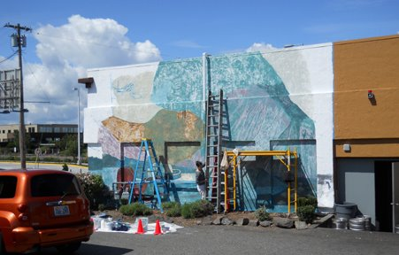Mural no 4 looking good on waterfront coffee wall my for Edmonds mural society