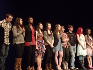 The 10 semifinal contestants await the judges' selection. E-W's Caitlin Yanos is fifth from the left.