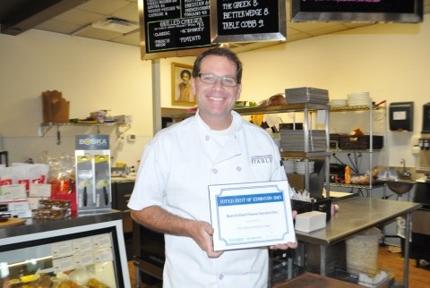 The Best Grilled Cheese Sandwich award goes to Cheesemonger's Table. Accepting is owner Strom Peterson.