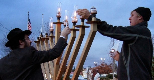 The menorah is lit.